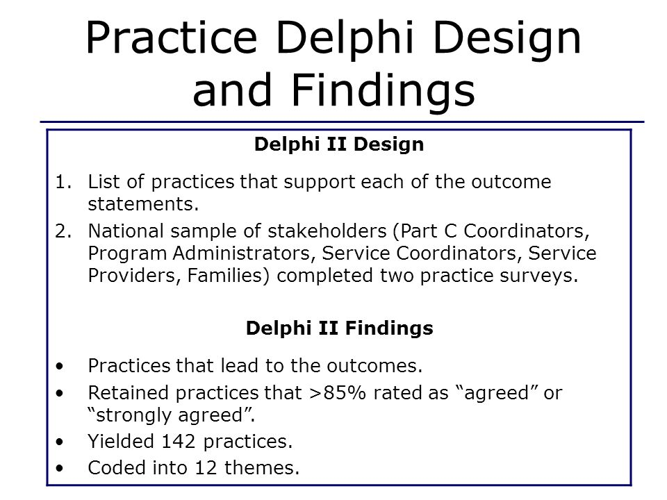 Practice Delphi Design and Findings Delphi II Design 1.List of practices that support each of the outcome statements.