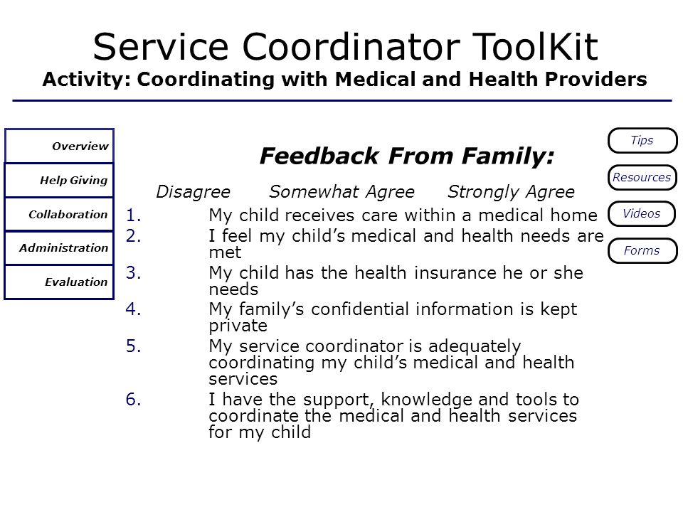 Feedback From Family: Disagree Somewhat AgreeStrongly Agree 1.My child receives care within a medical home 2.I feel my childs medical and health needs are met 3.My child has the health insurance he or she needs 4.My familys confidential information is kept private 5.My service coordinator is adequately coordinating my childs medical and health services 6.I have the support, knowledge and tools to coordinate the medical and health services for my child Service Coordinator ToolKit Activity: Coordinating with Medical and Health Providers Help Giving Collaboration Overview Administration Evaluation Tips Resources Videos Forms