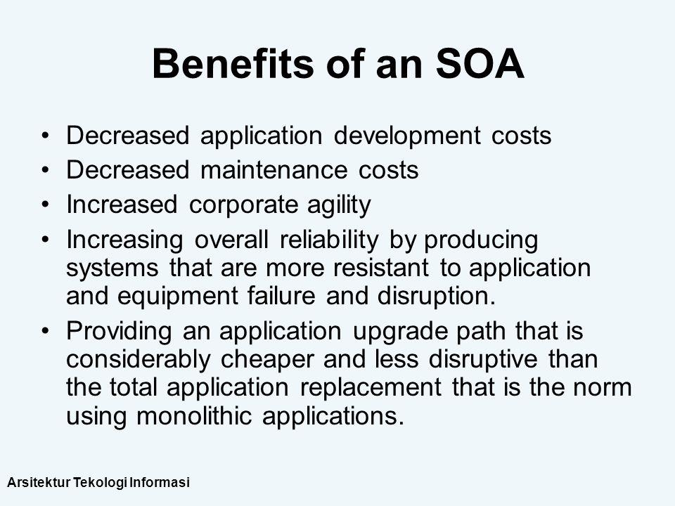 Arsitektur Tekologi Informasi Benefits of an SOA Decreased application development costs Decreased maintenance costs Increased corporate agility Incre