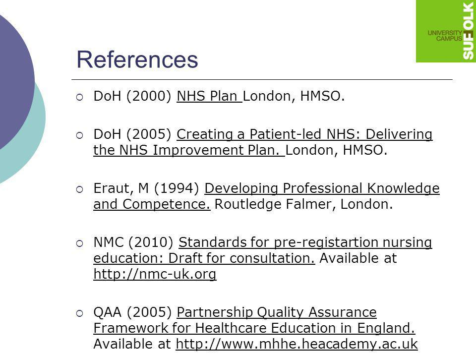 References DoH (2000) NHS Plan London, HMSO. DoH (2005) Creating a Patient-led NHS: Delivering the NHS Improvement Plan. London, HMSO. Eraut, M (1994)