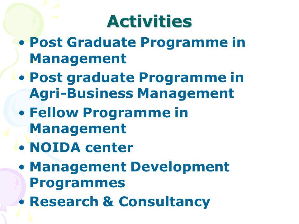 Activities Post Graduate Programme in Management Post graduate Programme in Agri-Business Management Fellow Programme in Management NOIDA center Manag