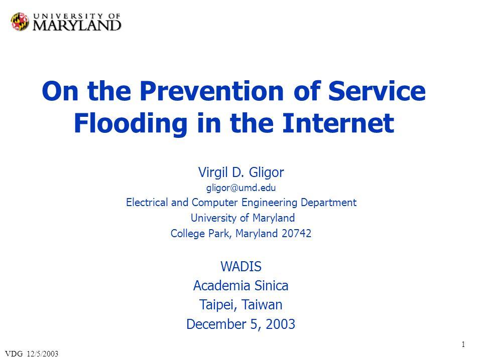 VDG 12/5/2003 2 Outline I.
