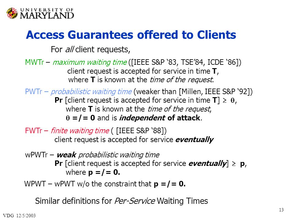 VDG 12/5/2003 13 MWTr – maximum waiting time ([IEEE S&P 83, TSE84, ICDE 86]) client request is accepted for service in time T, where T is known at the time of the request.