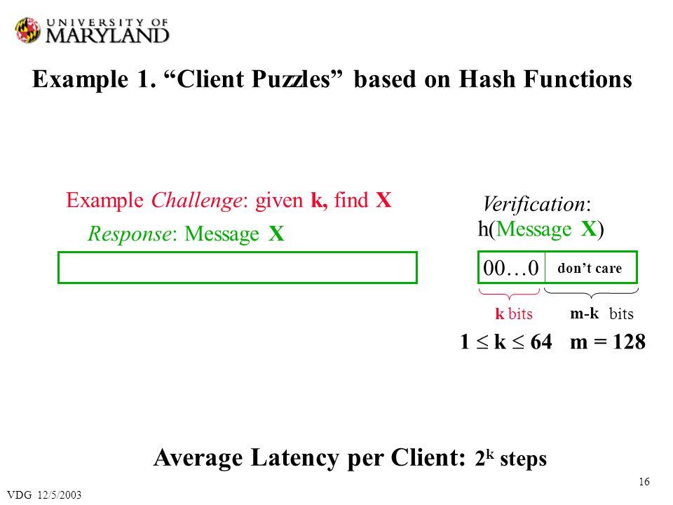 VDG 12/5/2003 16 Example 1.