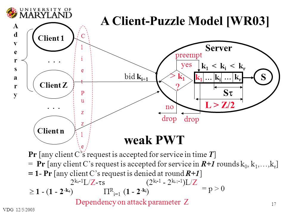 VDG 12/5/2003 17 ClietPuzzleClietPuzzle Client 1 Client Z Client n...