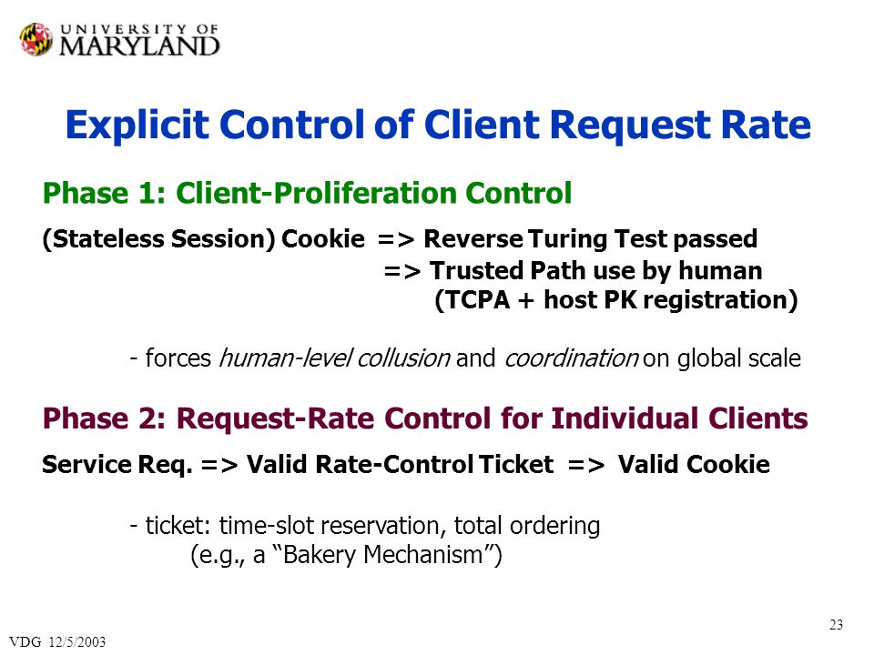 VDG 12/5/2003 23 Explicit Control of Client Request Rate Phase 1: Client-Proliferation Control (Stateless Session) Cookie => Reverse Turing Test passed => Trusted Path use by human (TCPA + host PK registration) - forces human-level collusion and coordination on global scale Phase 2: Request-Rate Control for Individual Clients Service Req.