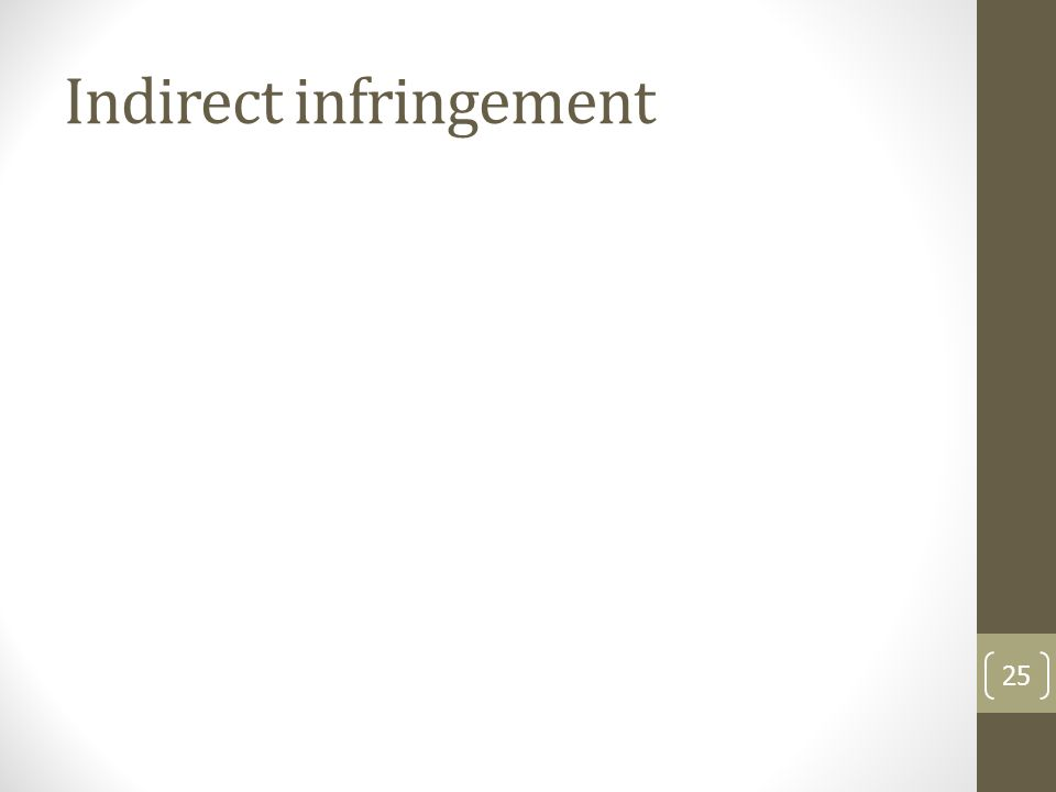 Indirect infringement 25