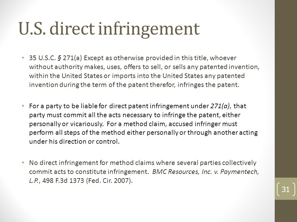 U.S. direct infringement 35 U.S.C.