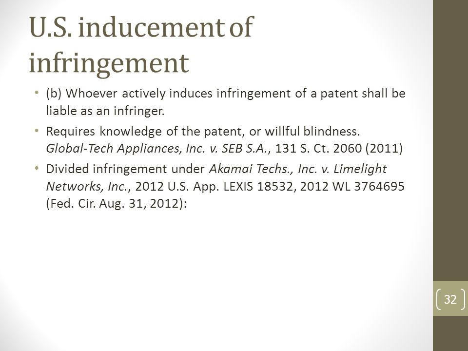 U.S. inducement of infringement (b) Whoever actively induces infringement of a patent shall be liable as an infringer. Requires knowledge of the paten