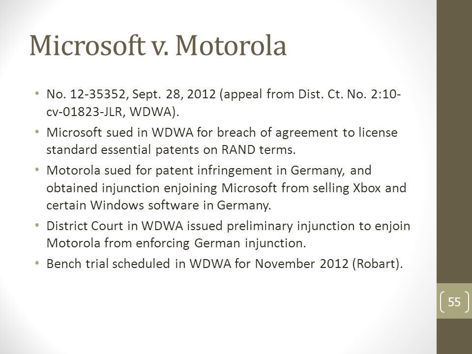 Microsoft v. Motorola No. 12-35352, Sept. 28, 2012 (appeal from Dist.