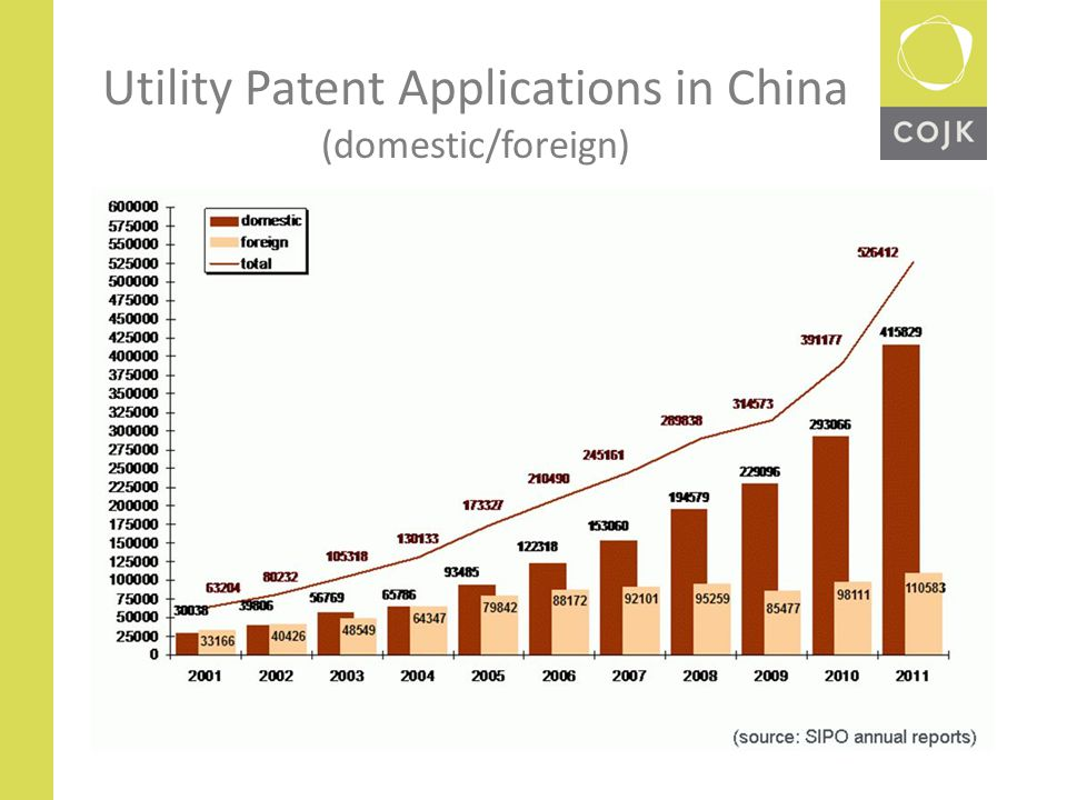 Utility Patent Applications in China (domestic/foreign)