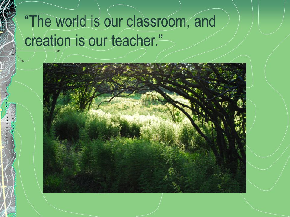 The world is our classroom, and creation is our teacher.