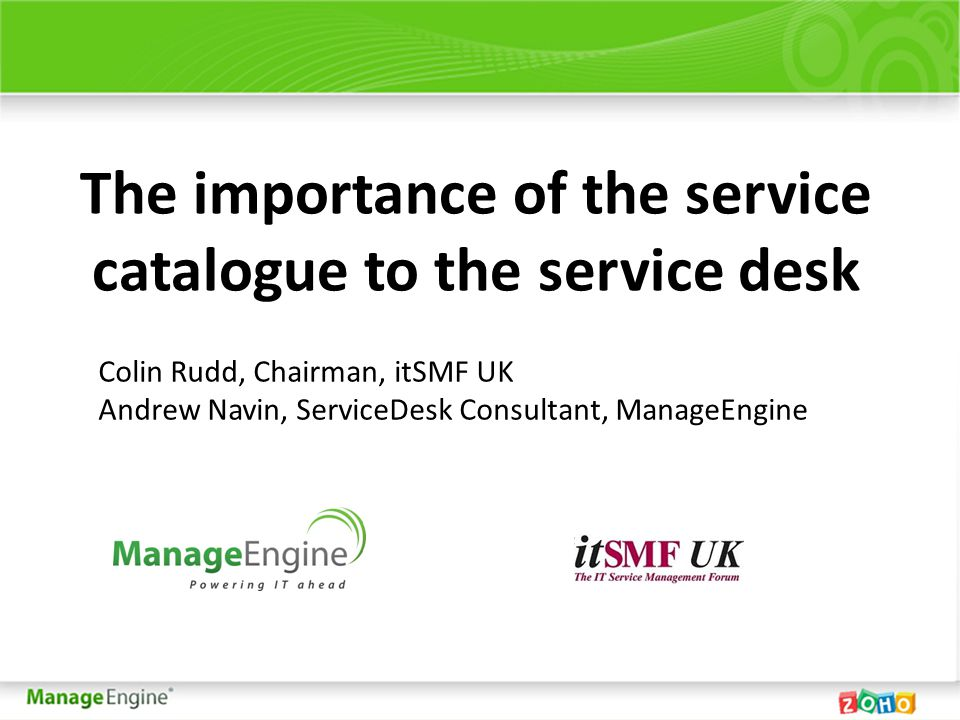 Slide 2 Agenda What is a service and what is a service catalogue.