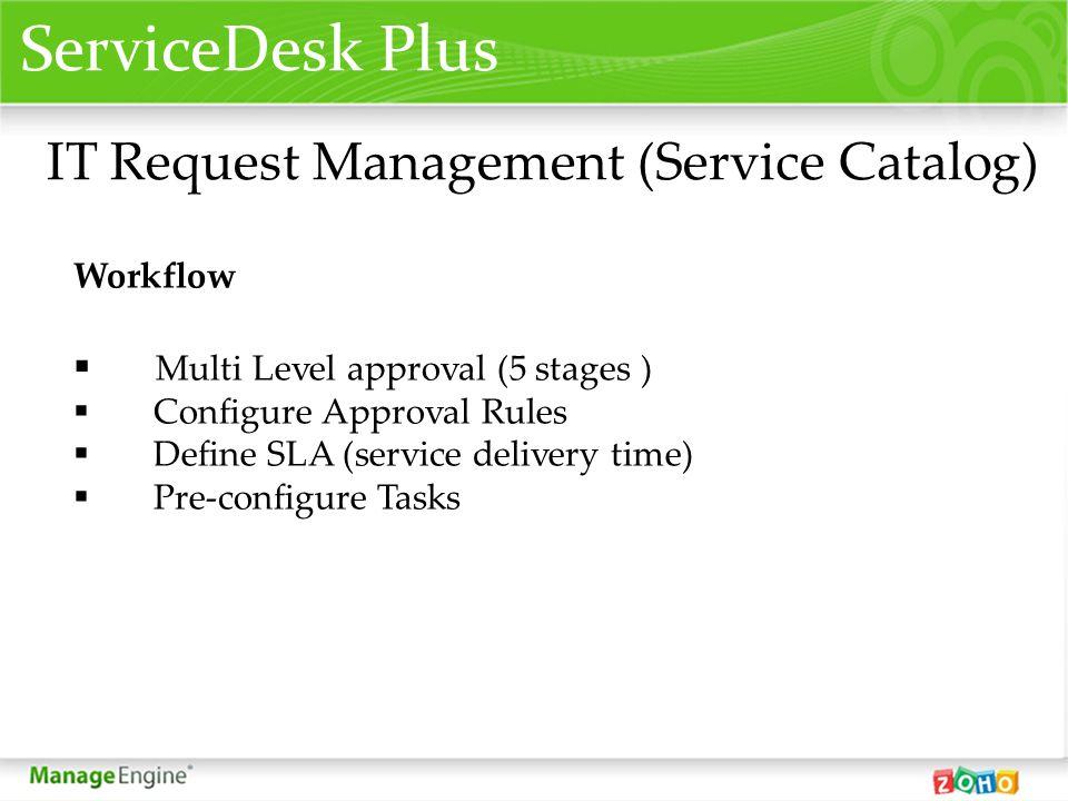 ServiceDesk Plus IT Request Management (Service Catalog) Workflow Multi Level approval (5 stages ) Configure Approval Rules Define SLA (service delive