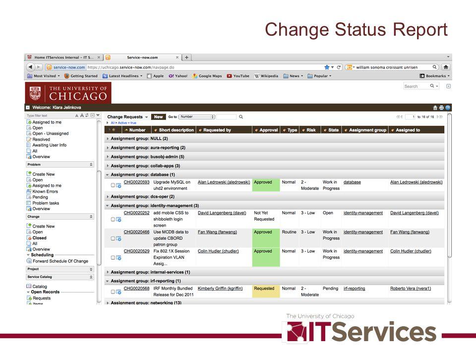 Change Status Report