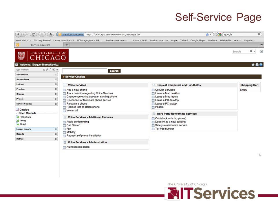 Self-Service Page