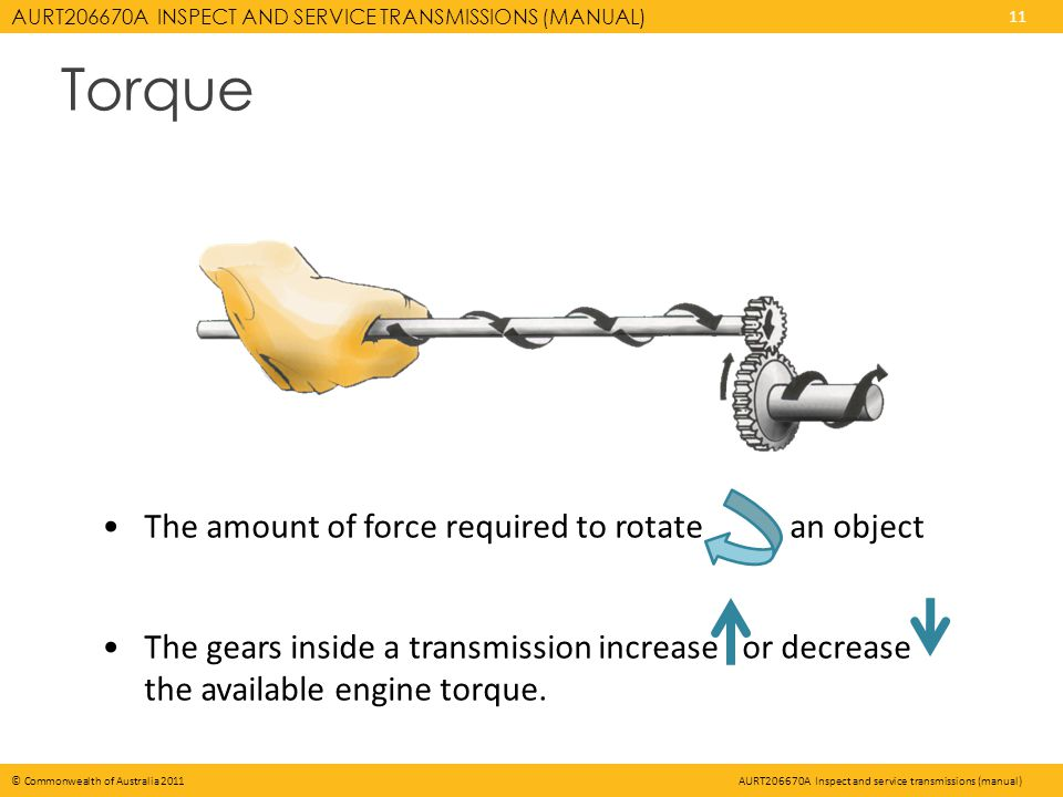 AURT206670A INSPECT AND SERVICE TRANSMISSIONS (MANUAL) 11 © Commonwealth of Australia 2011AURT206670A Inspect and service transmissions (manual) The amount of force required to rotate an object The gears inside a transmission increase or decrease the available engine torque.