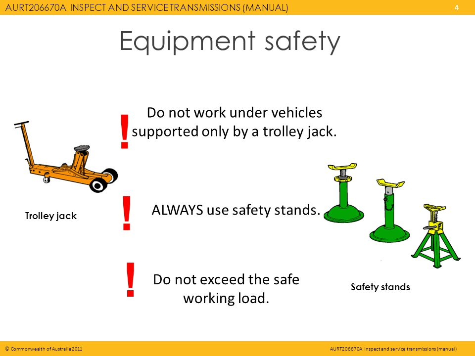 AURT206670A INSPECT AND SERVICE TRANSMISSIONS (MANUAL) 4 © Commonwealth of Australia 2011AURT206670A Inspect and service transmissions (manual) Equipment safety Trolley jack Safety stands Do not exceed the safe working load.