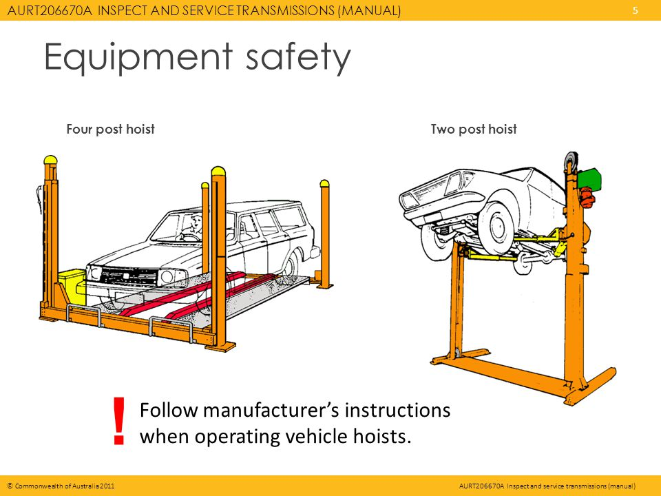 AURT206670A INSPECT AND SERVICE TRANSMISSIONS (MANUAL) 5 © Commonwealth of Australia 2011AURT206670A Inspect and service transmissions (manual) Equipment safety Four post hoistTwo post hoist Follow manufacturers instructions when operating vehicle hoists.