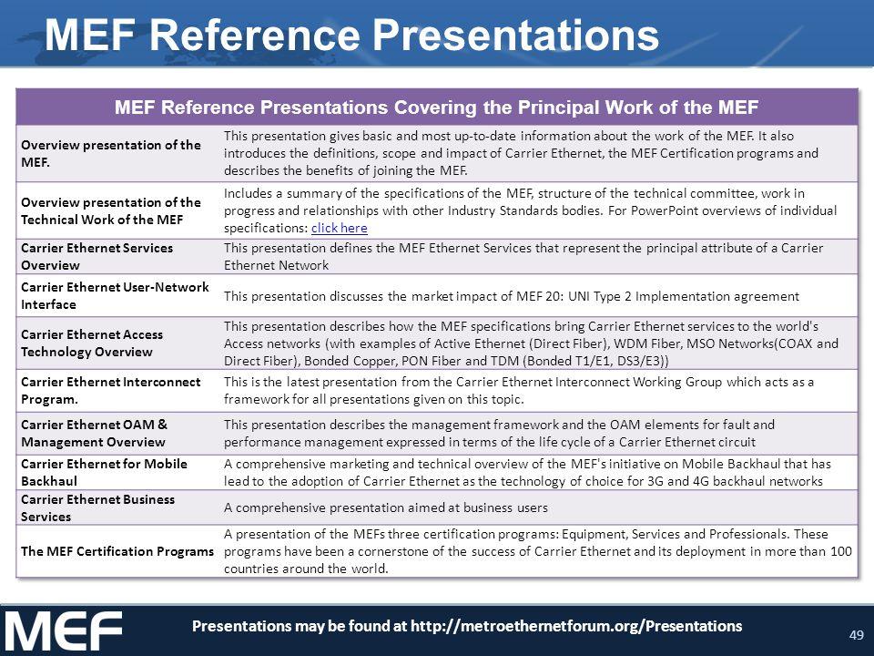 49 MEF Reference Presentations Presentations may be found at http://metroethernetforum.org/Presentations