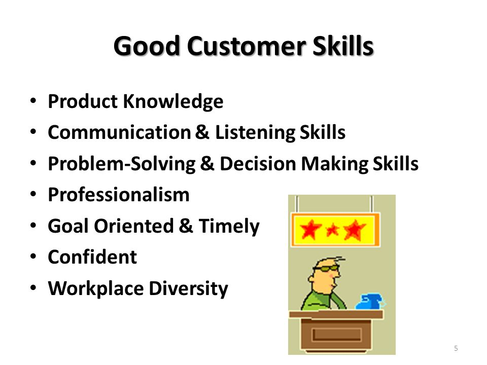 Good Customer Skills Product Knowledge Communication & Listening Skills Problem-Solving & Decision Making Skills Professionalism Goal Oriented & Timely Confident Workplace Diversity 5