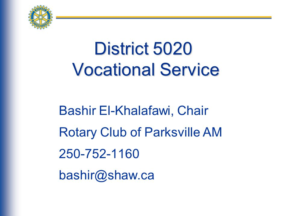 Vocational Service Month Vocational Service Month Every October, Rotarians are encouraged to focus their attention on Vocational Service Vocational Service Month is an opportunity to begin year-long vocational service activities It is a good idea to start by completing a Community Needs Assessment.
