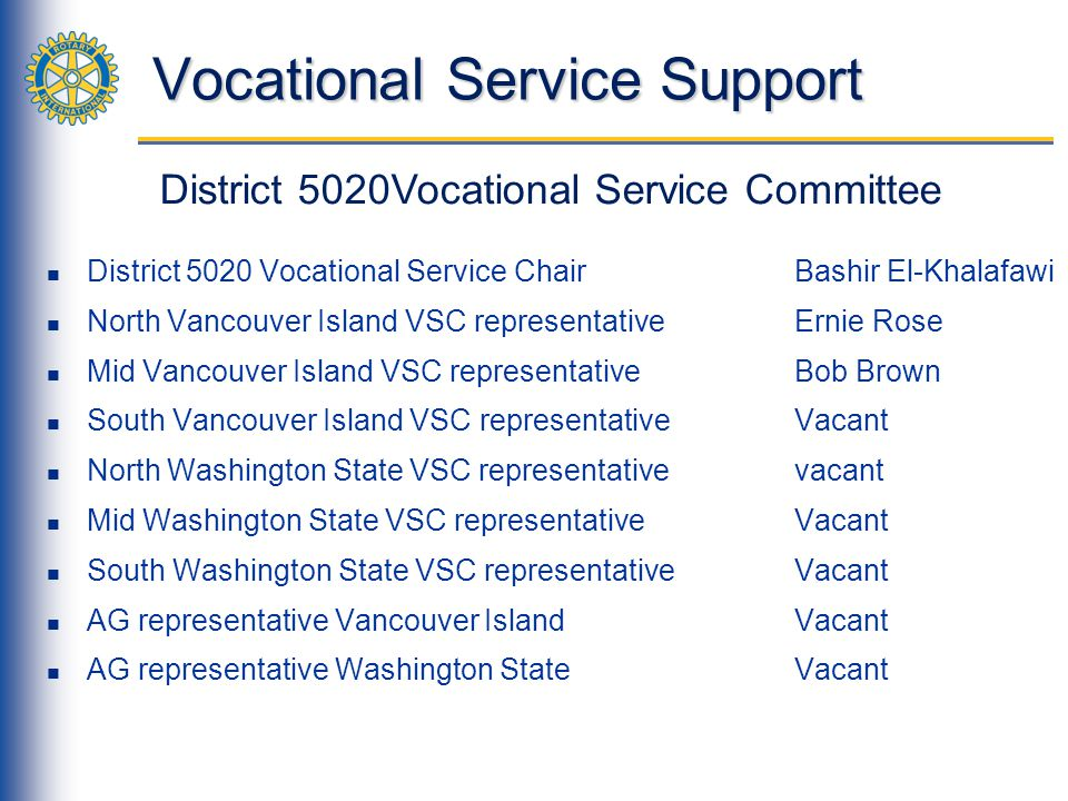 Vocational Service Support District 5020 Vocational Service Chair Bashir El-Khalafawi North Vancouver Island VSC representativeErnie Rose Mid Vancouve