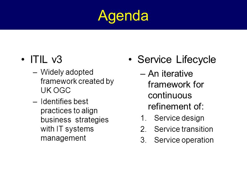 Service Lifeycle Management aspects standardized in ITIL v3 Strategy –Financial mgmt, Business perspective Design –Capacity, availability, continuity and security Deployment –Support and testing Operation –Incident mgmt, SLA monitoring Continuous Improvement Metrics, reporting and ROI