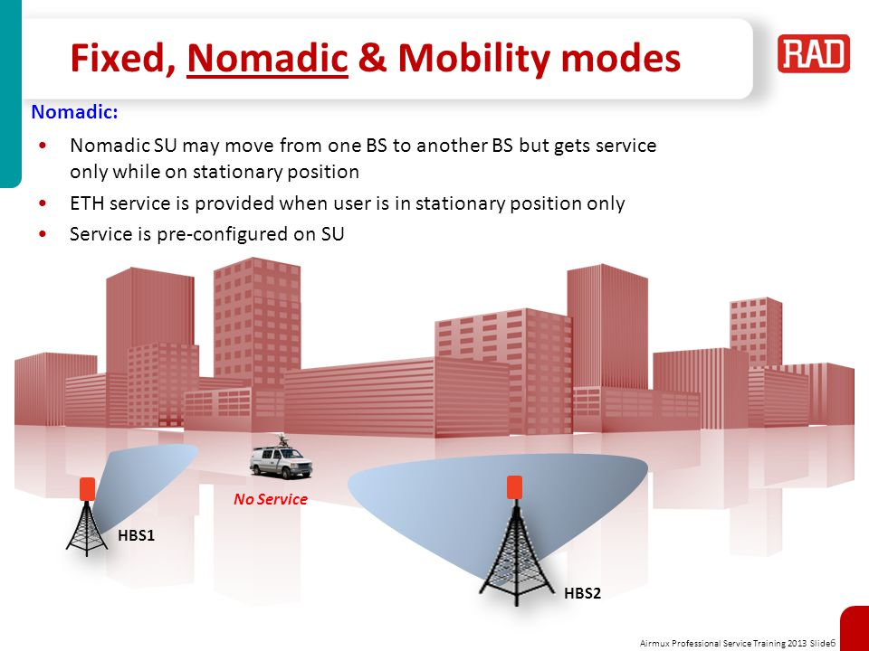 Airmux Professional Service Training 2013 Slide 7 Fixed, Nomadic & Mobility modes Nomadic: HBS1 HBS2 Service Available Nomadic SU may move from one BS to another BS but gets service only while on stationary position ETH service is provided when user is in stationary position only Service is pre-configured on SU