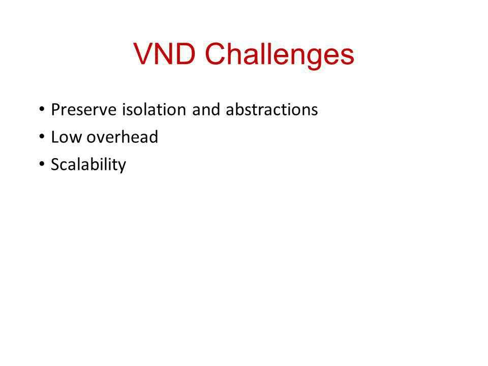 VND Challenges Preserve isolation and abstractions Low overhead Scalability