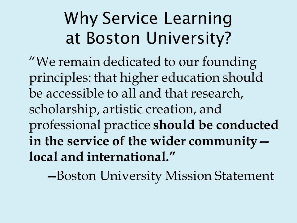 Why Service Learning at Boston University.