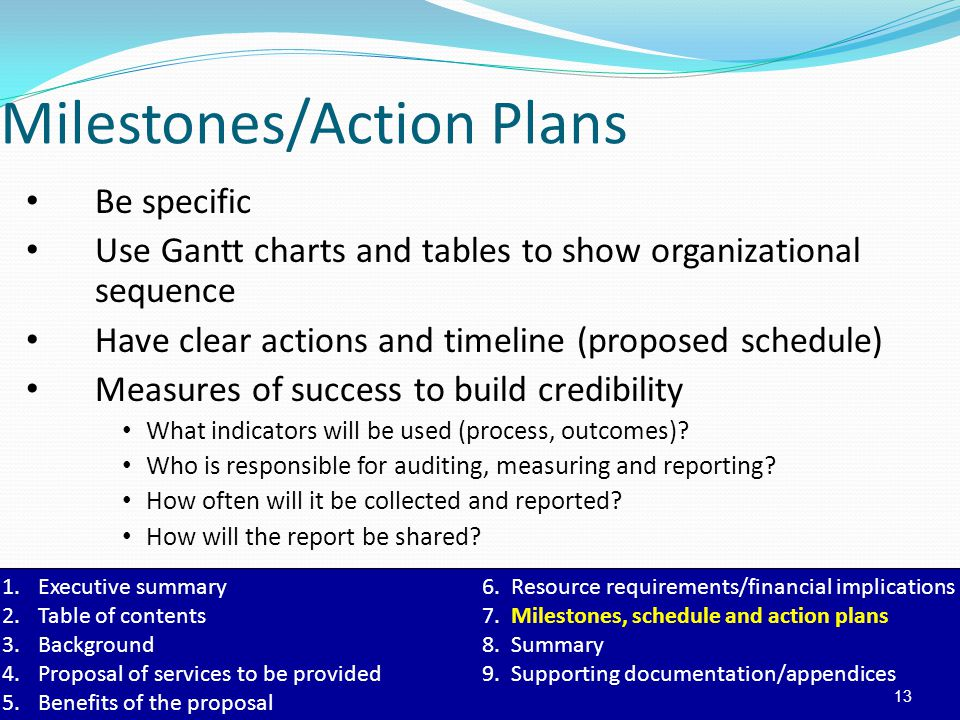 1.Executive summary6. Resource requirements/financial implications 2.Table of contents7. Milestones, schedule and action plans 3.Background8. Summary