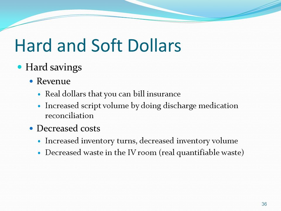 Hard and Soft Dollars Hard savings Revenue Real dollars that you can bill insurance Increased script volume by doing discharge medication reconciliati
