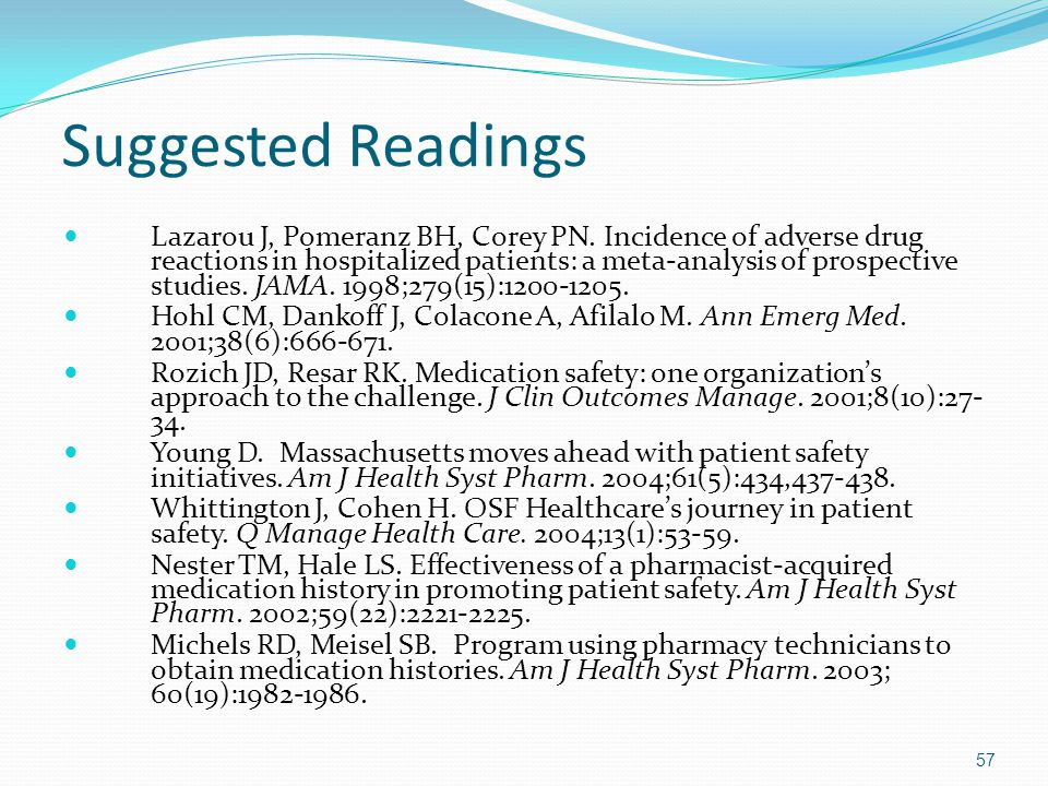 Suggested Readings Lazarou J, Pomeranz BH, Corey PN. Incidence of adverse drug reactions in hospitalized patients: a meta-analysis of prospective stud