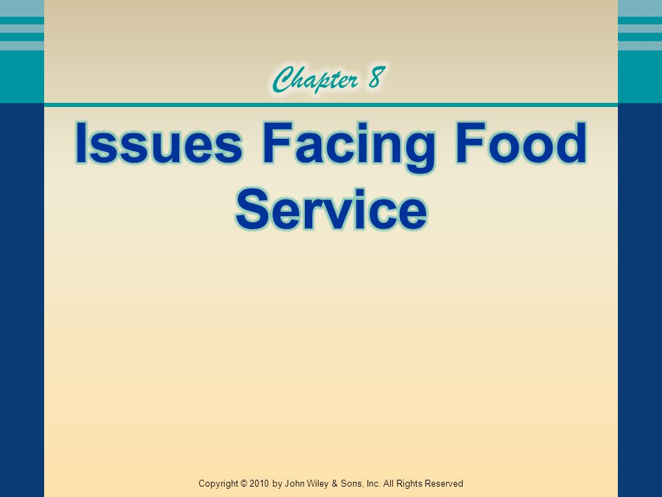 ISSUES FACING FOOD SERVICE There are a variety of pressing issues that are facing the industry Some of these are left to the individual operator to manage, some are legislated, and others are handled by trade associations They range in scope from health concerns to waste management