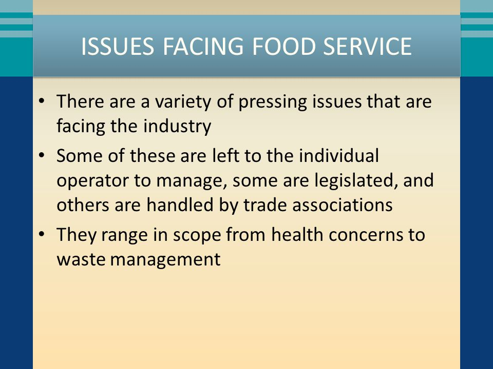 CONSUMER CONCERNS Concerns/Issues include: – Obesity – Nutritional Content of Foods – Genetically Modified Foods – Truth in Menu – Alcohol Consumption – Food Safety – Garbage – Others (smoking, trans fats, etc.)
