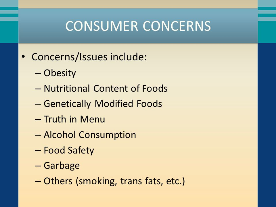 OBESITY Numerous lawsuits have been brought, primarily against QSRs, blaming them for obesity related health problems Plaintiffs have sought menu labeling changes, advertising restrictions, nutritional labeling regulations and financial reimbursement Many companies are responding with various changes in menus, items, or ingredients