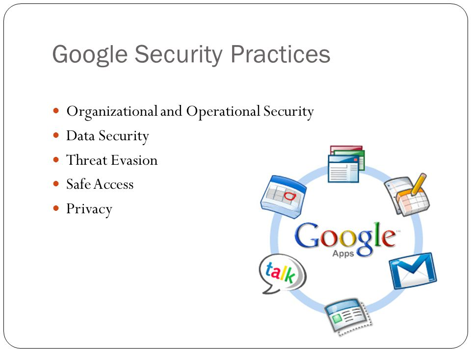 Google Security Practices Organizational and Operational Security Data Security Threat Evasion Safe Access Privacy