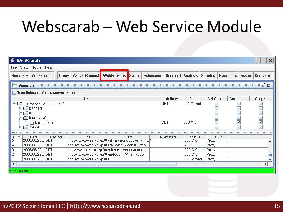 Webscarab – Web Service Module ©2012 Secure Ideas LLC | http://www.secureideas.net15