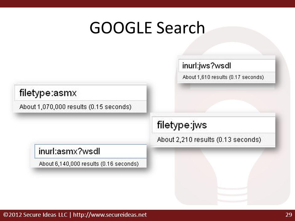 GOOGLE Search ©2012 Secure Ideas LLC | http://www.secureideas.net29