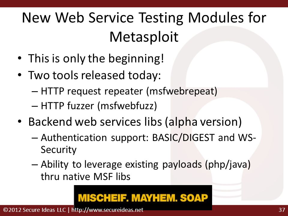 New Web Service Testing Modules for Metasploit This is only the beginning! Two tools released today: – HTTP request repeater (msfwebrepeat) – HTTP fuz