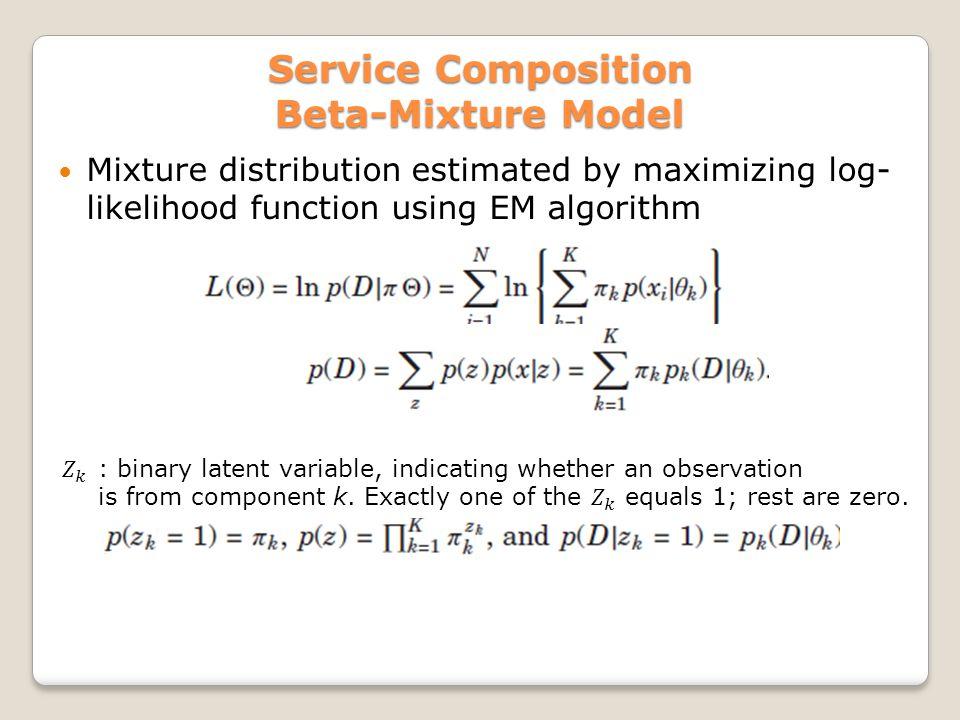 Service Composition Beta-Mixture Model Mixture distribution estimated by maximizing log- likelihood function using EM algorithm
