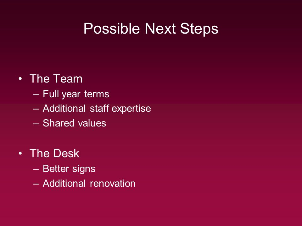 Possible Next Steps The Team –Full year terms –Additional staff expertise –Shared values The Desk –Better signs –Additional renovation