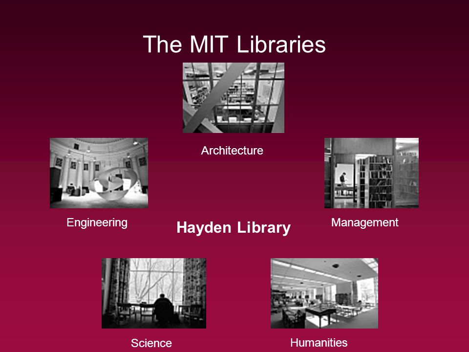 The MIT Libraries Architecture EngineeringManagement Science Humanities Hayden Library