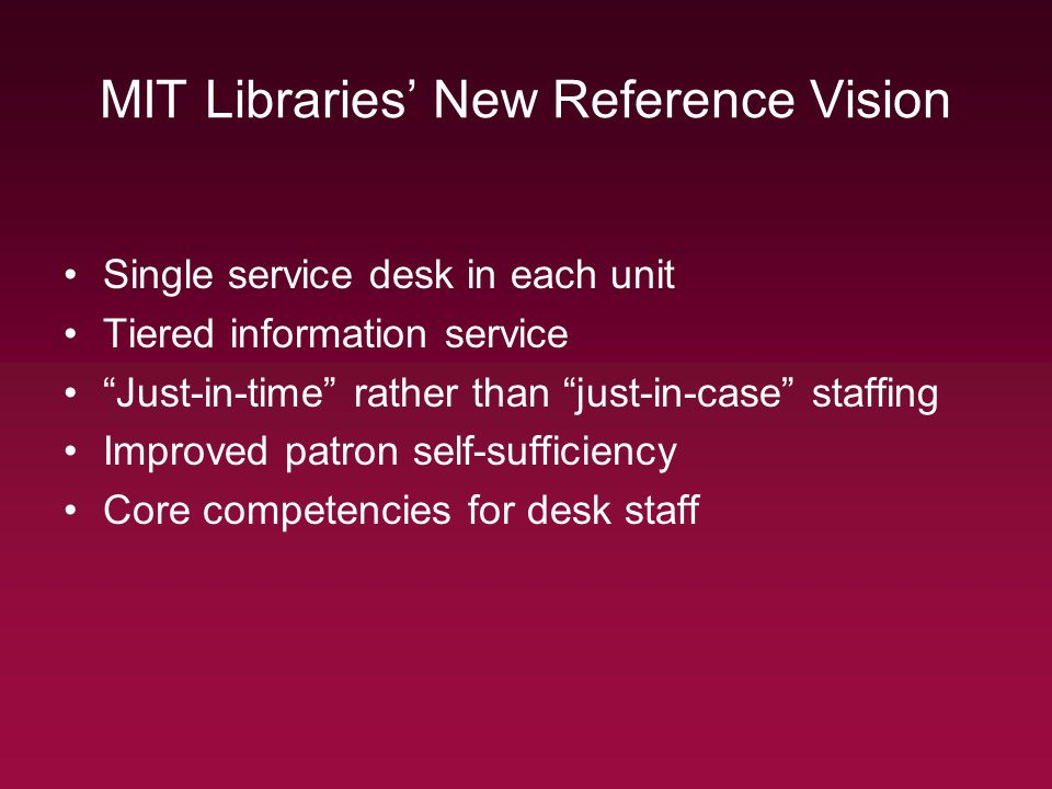 MIT Libraries New Reference Vision Single service desk in each unit Tiered information service Just-in-time rather than just-in-case staffing Improved