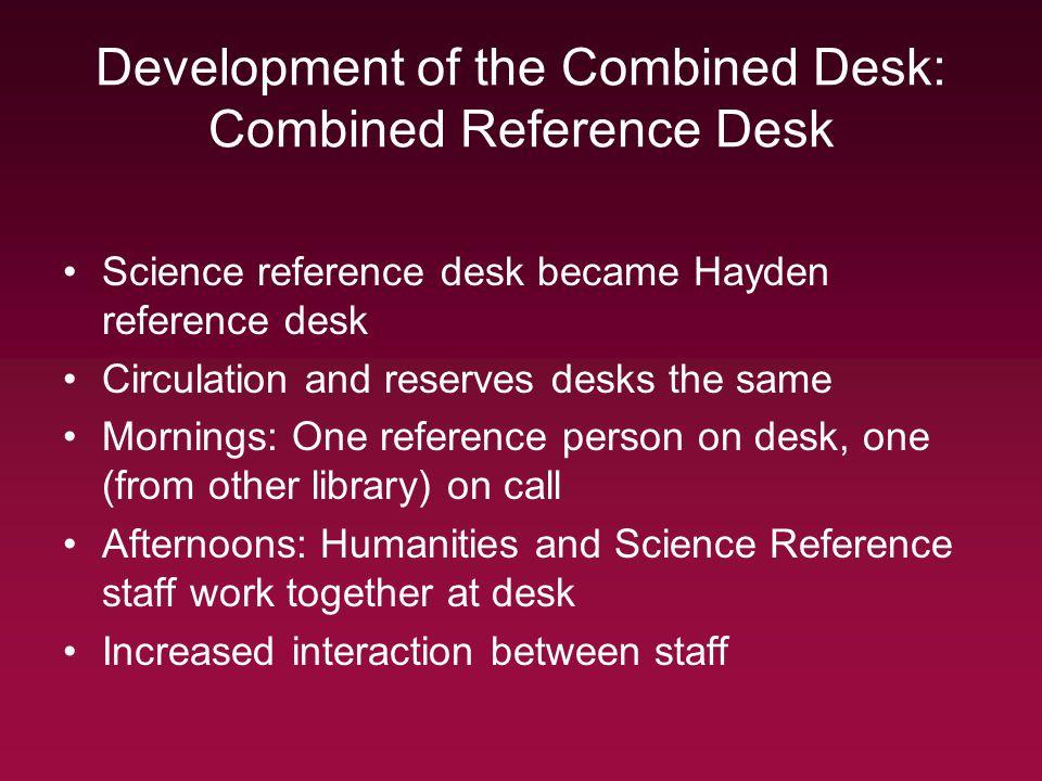 Development of the Combined Desk: Combined Reference Desk Science reference desk became Hayden reference desk Circulation and reserves desks the same