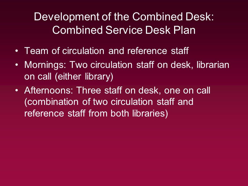 Development of the Combined Desk: Combined Service Desk Plan Team of circulation and reference staff Mornings: Two circulation staff on desk, librarian on call (either library) Afternoons: Three staff on desk, one on call (combination of two circulation staff and reference staff from both libraries)