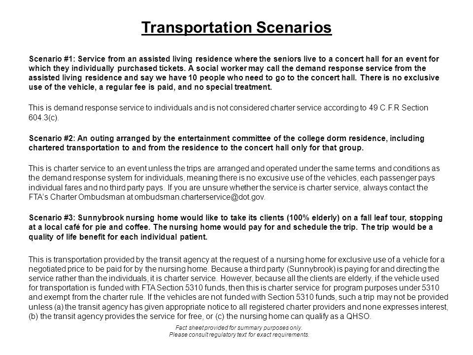 Transportation Scenarios Cont.