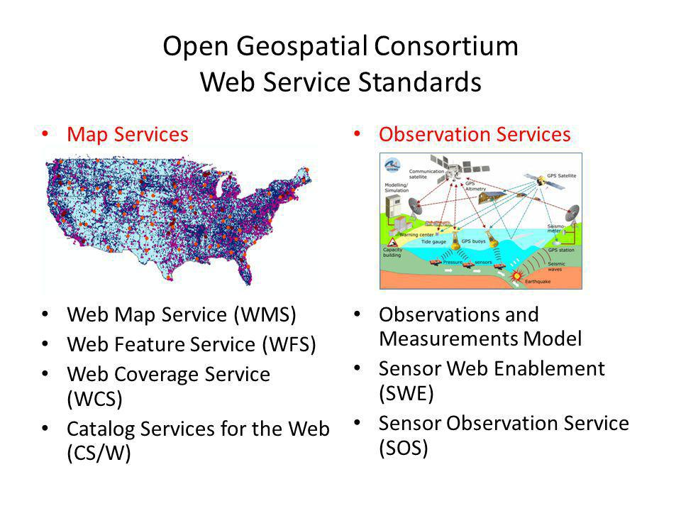 Open Geospatial Consortium Web Service Standards Map Services Web Map Service (WMS) Web Feature Service (WFS) Web Coverage Service (WCS) Catalog Services for the Web (CS/W) Observation Services Observations and Measurements Model Sensor Web Enablement (SWE) Sensor Observation Service (SOS)