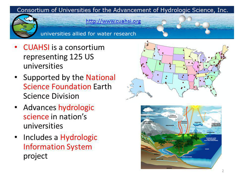 CUAHSI is a consortium representing 125 US universities Supported by the National Science Foundation Earth Science Division Advances hydrologic science in nations universities Includes a Hydrologic Information System project http://www.cuahsi.org 2